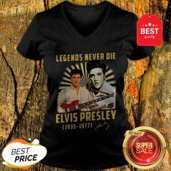 Legends Never Die Elvis Presley 1935 1977 Signature Autographed V-neck