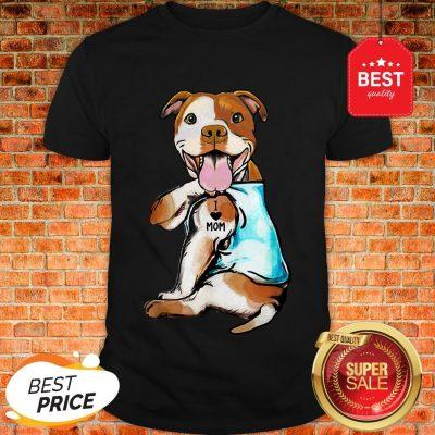 Nice American Staffordshire Terrier I Love Mom Tattoos Shirt