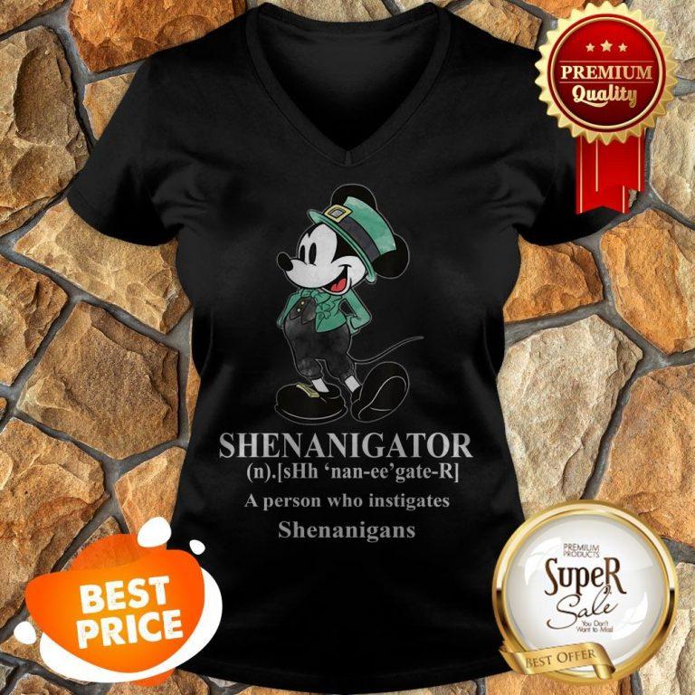 Nice Mickey Mouse Shenanigator Define St. Patrick's Day V-neck