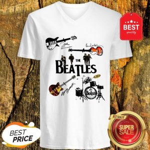 Nice The Beatles Guitars Drummer Signatures V-neck