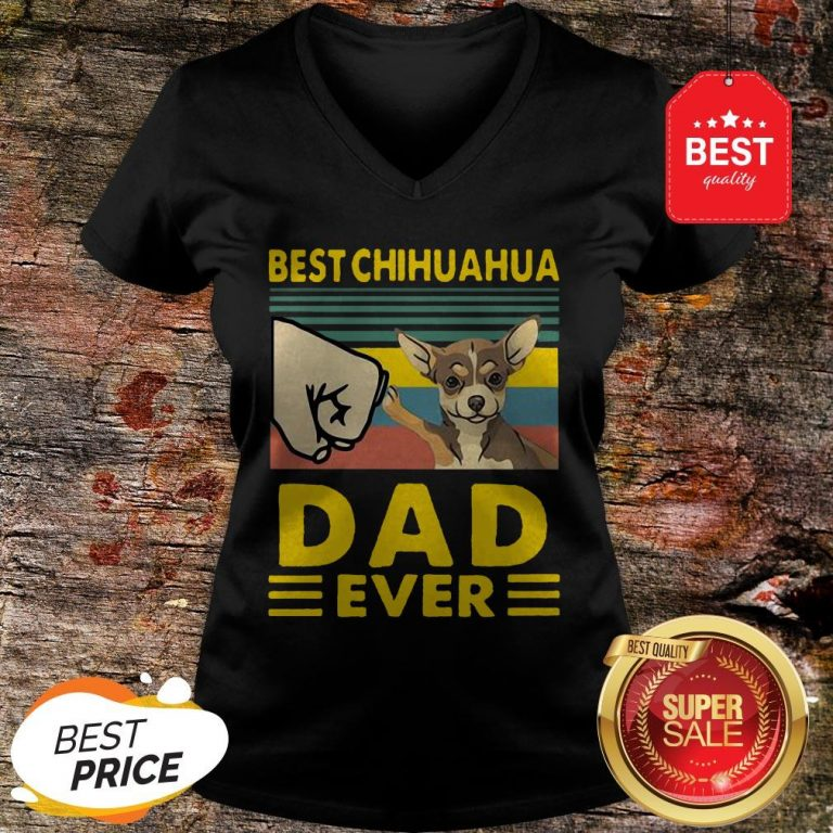 Official Best Chihuahua Dad Ever Vintage V-neck