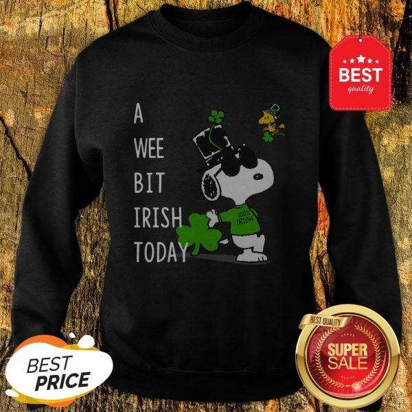 Snoopy A Wee Bit Irish Today Shamrock St. Patrick's Day Sweatshirt