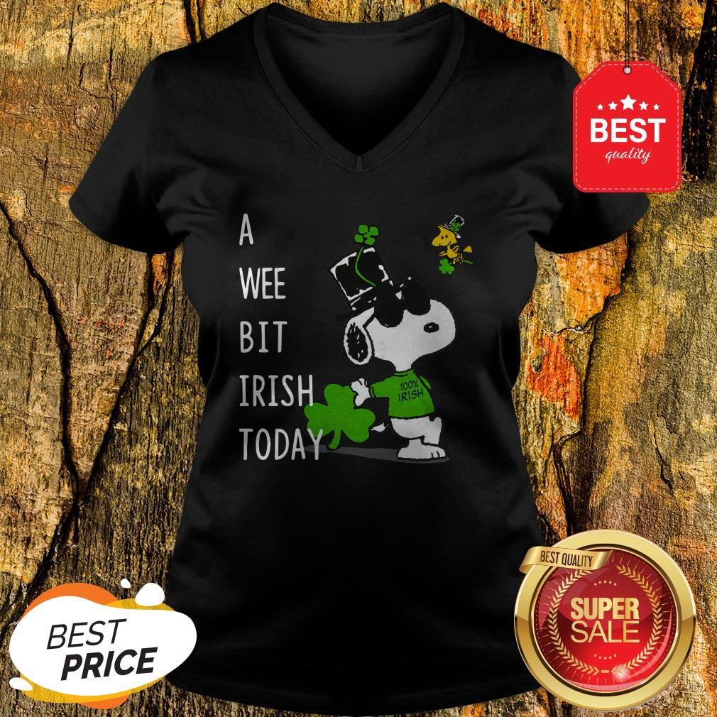 Snoopy A Wee Bit Irish Today Shamrock St. Patrick's Day V-neck