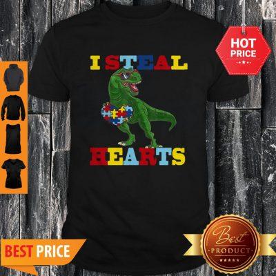 Dinosaur T-Rex I Steal Heart Autism Awareness Shirt