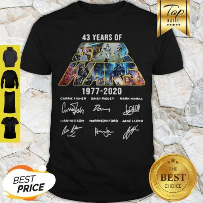 43 Years Of Star Wars 1977-2020 Signatures Carrie Fisher Shirt