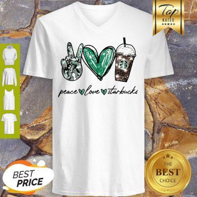 Glitter Peace Love Starbucks Coffee V-neck
