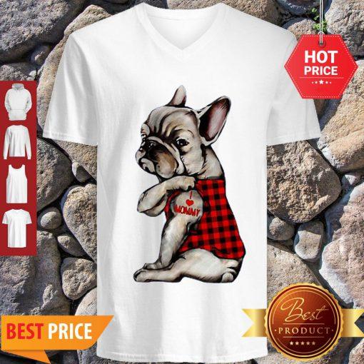 French Bulldog Tattoo I Love Mommy Animal Lover V-neck
