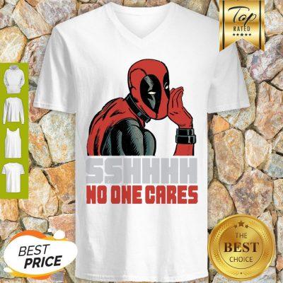 Sshhhh No One Cares Marvel Deadpool V-neck