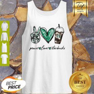 Glitter Peace Love Starbucks Coffee Tank Top