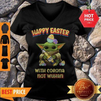 Star Wars Baby Yoda Happy Easter With Corona Not Wuhan V-neck