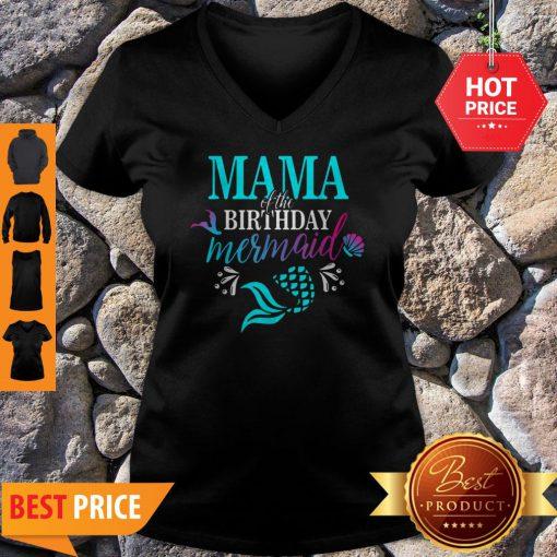 Beautiful Mama Of The Birthday Mermaid Matching Family V-neck