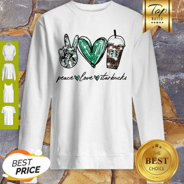 Glitter Peace Love Starbucks Coffee Sweatshirt
