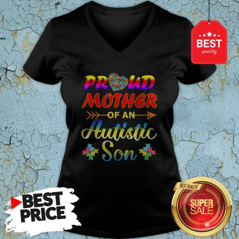 Autism Awareness Tee Proud Mother Autistic Son Funny Gifts V-neck