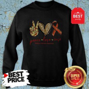 Glitter Peace Love Cure Multiple Sclerosis Awareness Sweatshirt