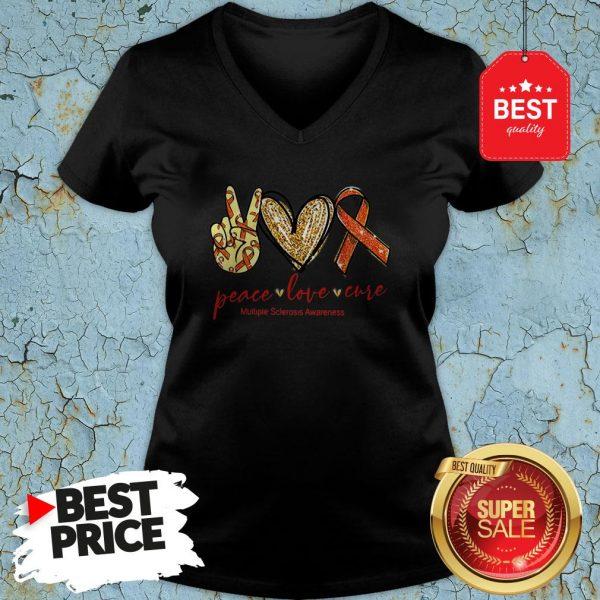 Glitter Peace Love Cure Multiple Sclerosis Awareness V-neck