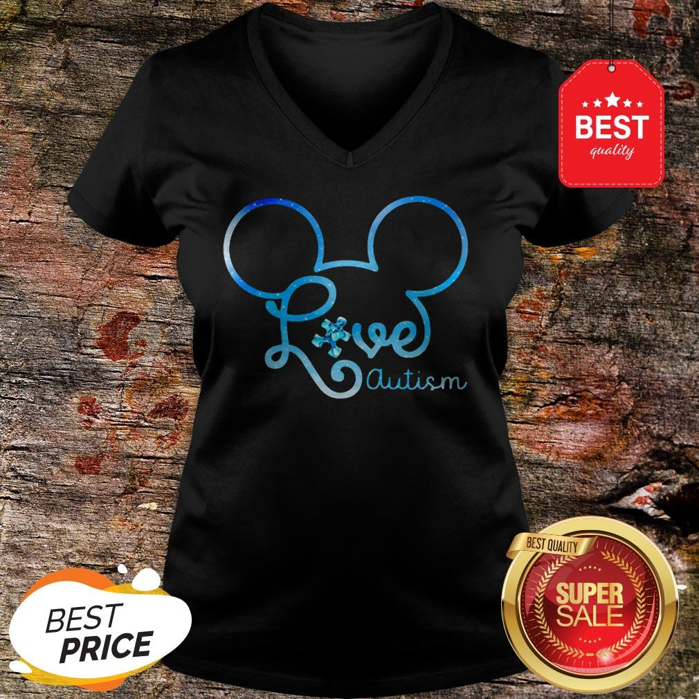 Mickey Mouse Forget Me Not Fibromyalgia Awareness V-neck