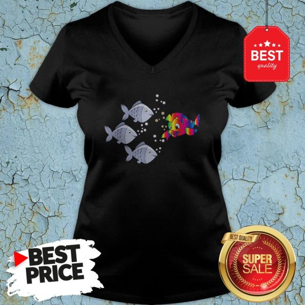 Official Autism Awareness Stand Out Fish V-neck