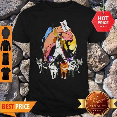 Freddie Mercury With His Cat I Love Dad Shirt