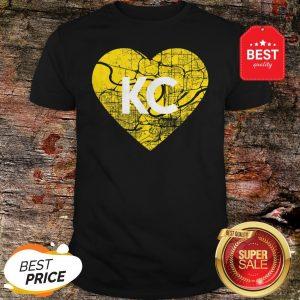 I Love Kansas City Football KC Heart Map T-Shirt