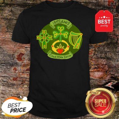 Ireland Saint Patrick's Day Celtic Cross Shamrock Green T-Shirt