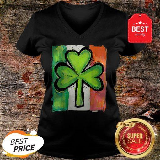 IRISH AMERICAN FLAG Ireland Shamrock St Patricks Day V-neck