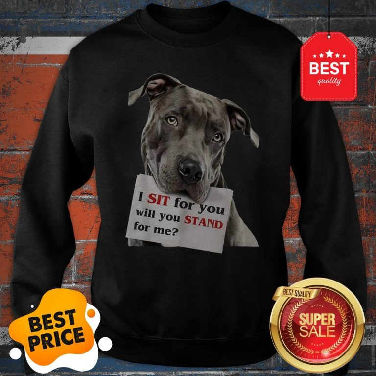 Official I Sit For You Will You Stand For Me Pitbull Dog Lovers Sweatshirt
