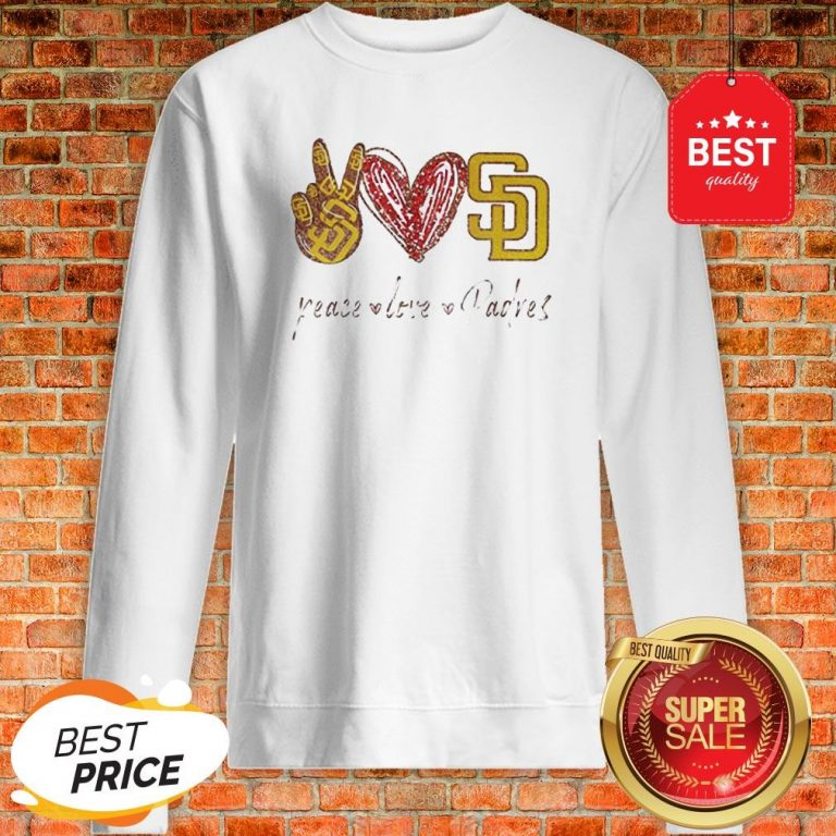 Official Peace love Diego Padres Sweatshirt