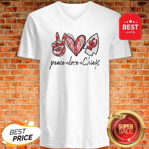 Official Peace love Kansas City Chiefs V-neck