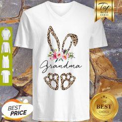 Official Rabbit Bunny Leopard Grandma Flower V-neck