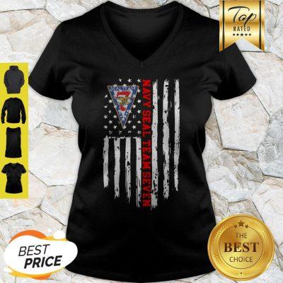 United States Navy Seal Team Seven American Flag V-neck