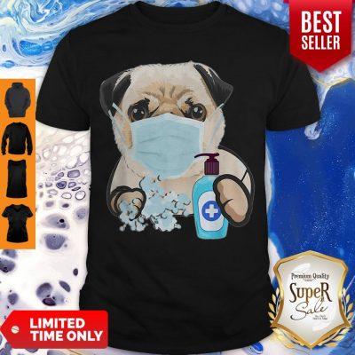 Pug Face Mask Handwashing Dog Lover Shirt
