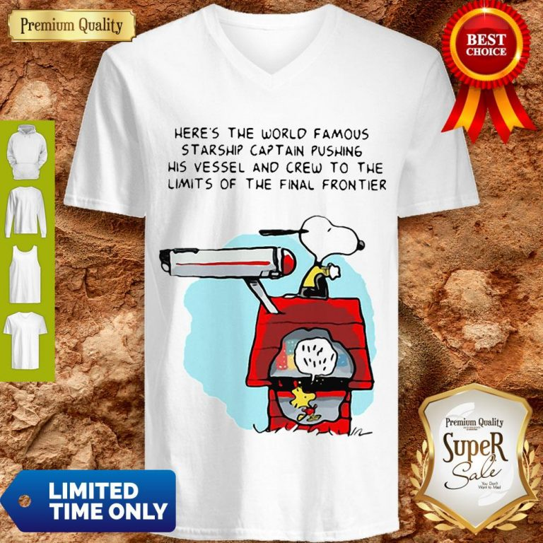 Snoopy And Woodstock Here's The World Famous Starship Snoopy's House V-neck