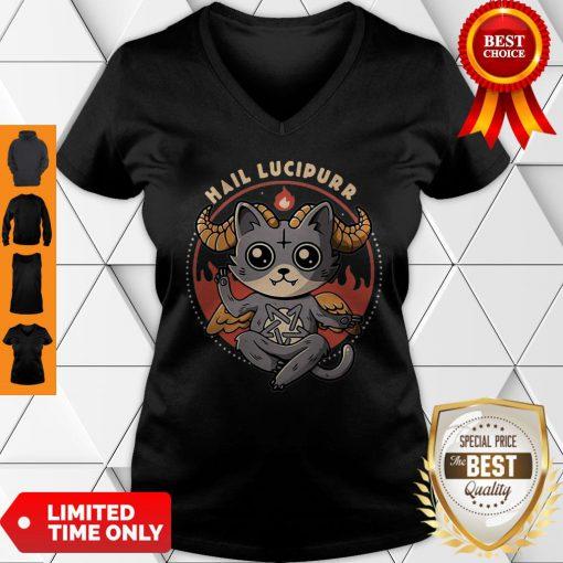 Official Satan Cat Hail Lucipurr Cat Lovers V-Neck