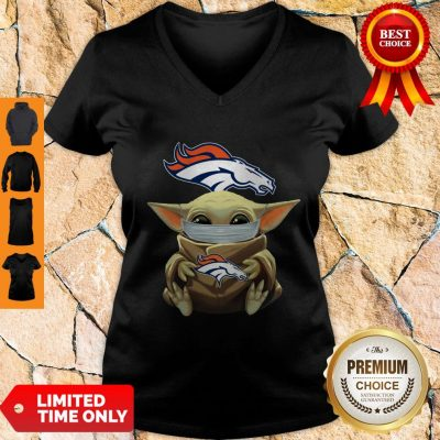 Funny Baby Yoda Face Mask Denver Broncos Tee V-neck