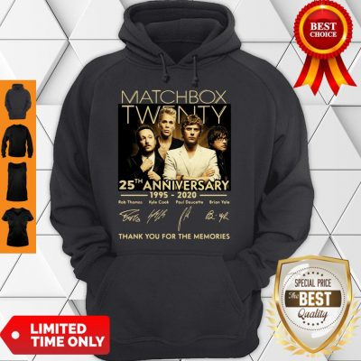 Top Matchbox Twenty 25th Anniversary 1995-2020 Signatures Thank You For The Memories Hoodie