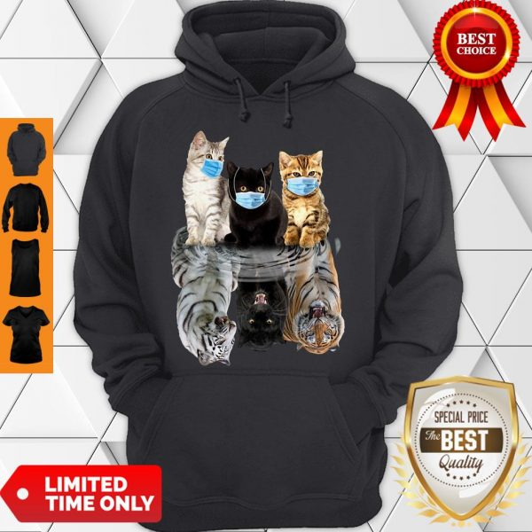 Nice Cats Face Mask Water Mirror Reflection Tigers Hoodie