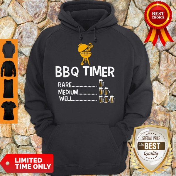 Good BBQ Timer Rare Medium Well Beer Counter Fun Grill Chef Hoodie