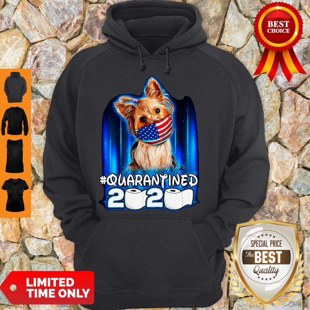 Funny Yorkshire Terrier Face Mask American Flag Quarantined 2020 Toilet Paper Hoodie