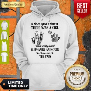 Good Once Upon A Time There Was A Girl Who Really Love Elephants And Cats It Was Me The End Hoodie