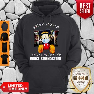 Top Mickey Stay Home And Listen To Bruce Springsteen Coronavirus Hoodie
