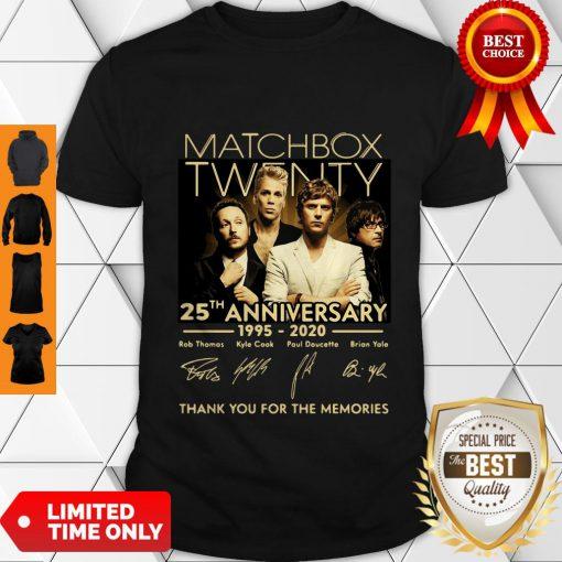 Top Matchbox Twenty 25th Anniversary 1995-2020 Signatures Thank You For The Memories Shirt