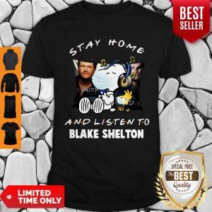 Top Snoopy Woodstock Mask Stay Home Blake Shelton Shirt