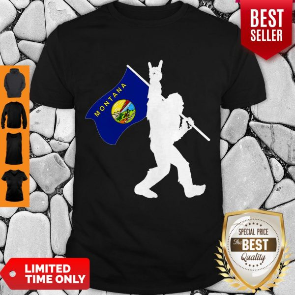 Pretty Bigfoot Middle Finger Montana State Flag Shirt