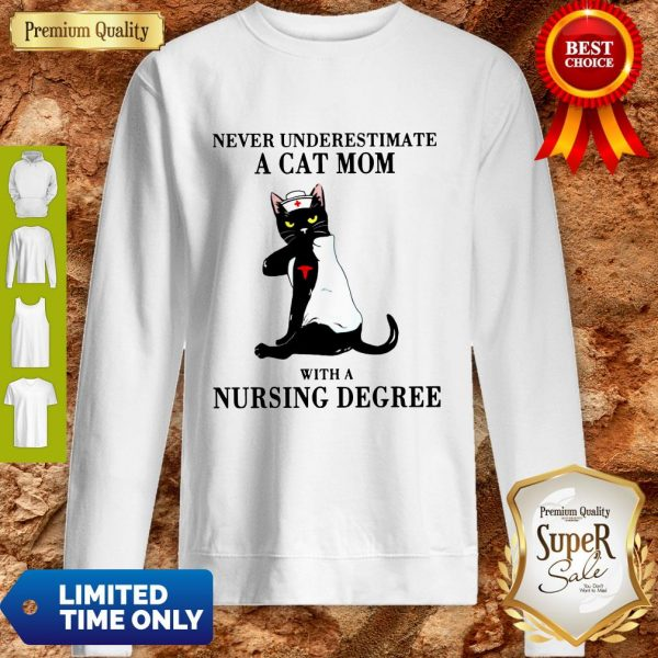 Funny Never Underestimate A Cat Mom With A Nursing Degree Sweatshirt