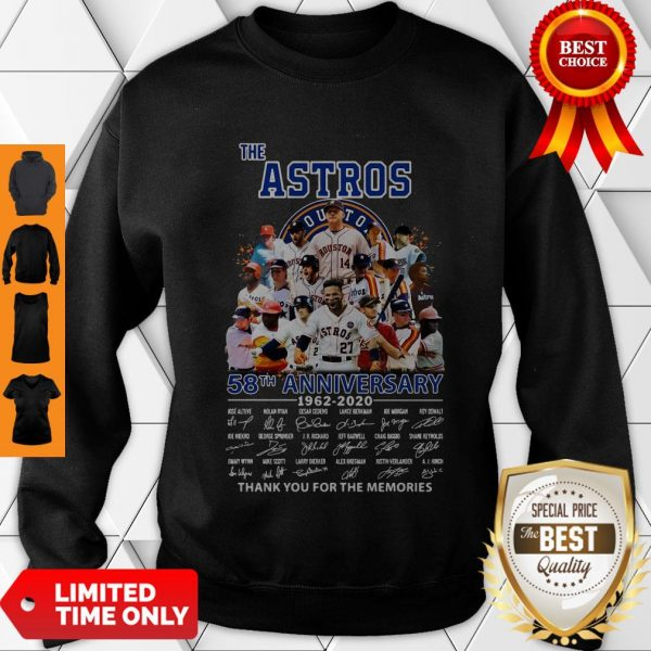 Good The Houston Astros 58th Anniversary 1962-2020 Signatures Thank You For The Memories Sweatshirt