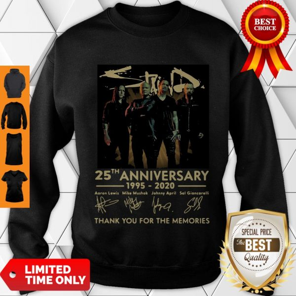 Pretty Staind 25th Anniversary 1995-2020 Signatures Thank You For The Memories Sweatshirt