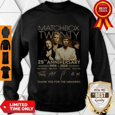 Top Matchbox Twenty 25th Anniversary 1995-2020 Signatures Thank You For The Memories Sweatshirt