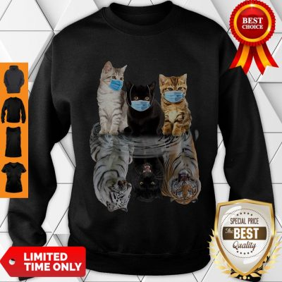 Nice Cats Face Mask Water Mirror Reflection Tigers Sweatshirt