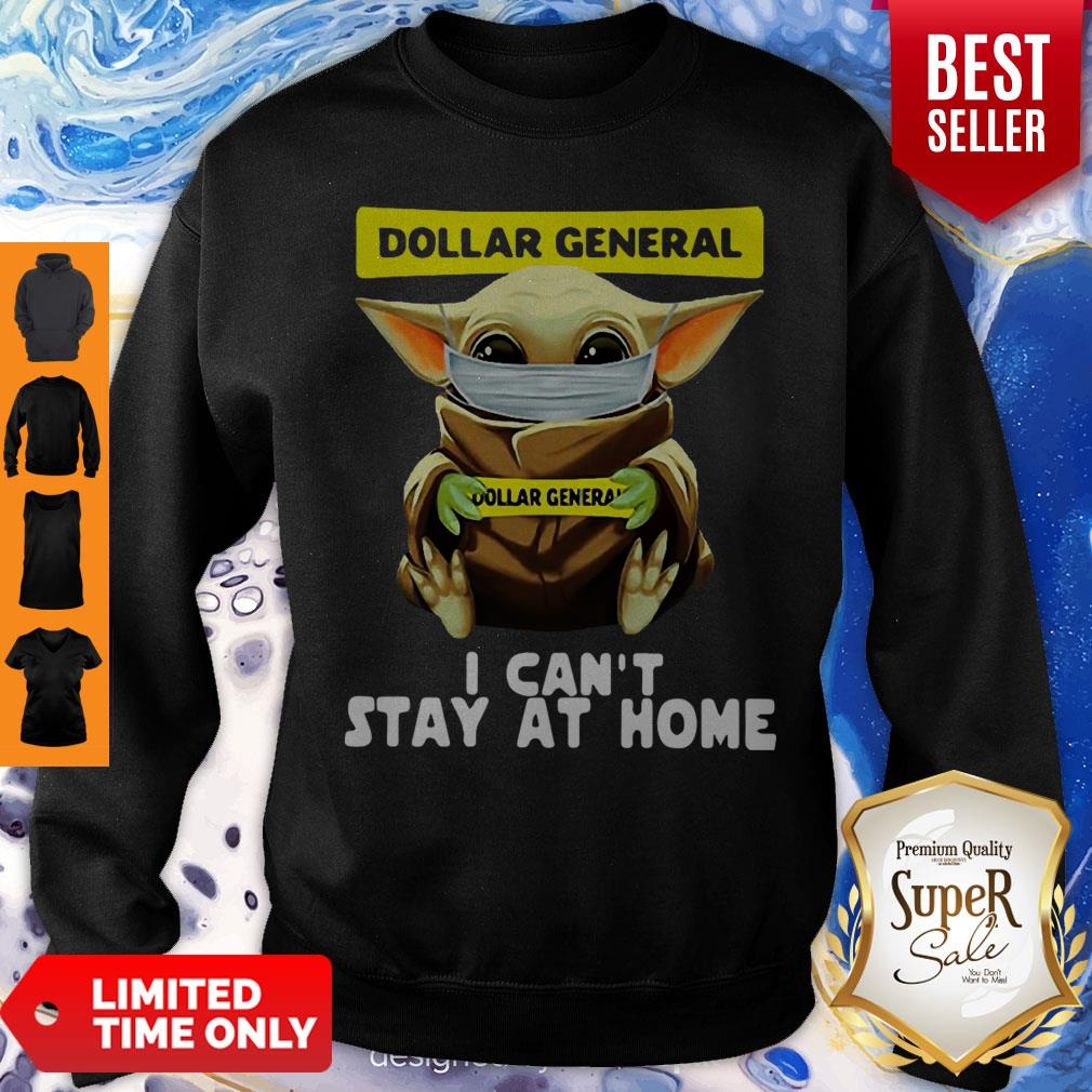Top Star Wars Baby Yoda Face Mask Hug Dollar General I Can't Stay At Home Sweatshirt