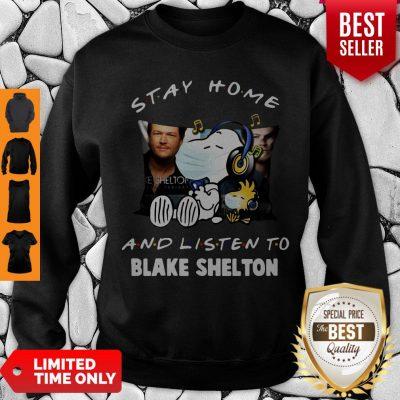 Top Snoopy Woodstock Mask Stay Home Blake Shelton Sweatshirt